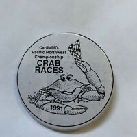 Garibaldis Pacific Northwest Championship Crab Races Pin Vintage Weird Button