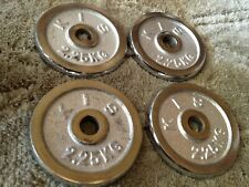 """4x 2.25KG 5lbs (1"""" Standard Stainless Steel CHROME) Weight Plates Plate Barbell"""