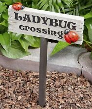 Ladybug Crossing Sign Stake Garden Flowerbed Yard Lawn Outdoor Home Decor 1-Pc