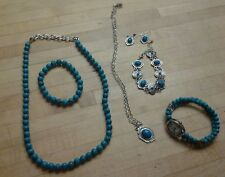 FAUX SILVER PLATED TURQUOISE 7 PIECE JEWELRY SET