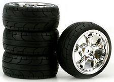 5-Blade Chrome 2mm Offset, ST Radial (4) RC Touring Car Wheels/Tire Set 1/10
