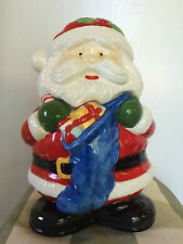 Santa Claus Shaped Cookie Jar Container Christmas Bag Full Of Gifts Ceramic JCL