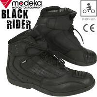 MODEKA Motorradschuhe BLACK RIDER Sport Stiefel mit CE Leder perforiert Gr. 44