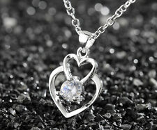 925 Sterling Silver Plating Women Fashion Double Heart Pendant Necklace Hot sell