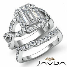 Cross Shank Emerald Diamond Engagement Ring Bridal Set Gia I Vs2 Platinum 2.2 ct