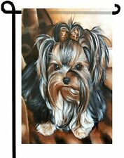 "YORKIE painting GARDEN FLAG Dog Art Yorkshire Terrier ""Desi"" animal print"