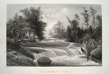 Niagara Stromschnellen USA  Amerika Whirlpool Rapids   alter  Stahlstich 1850