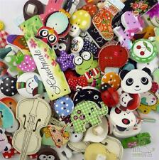 50pcs Bulk Mixed Cartoon Wood Flatback/Buttons Lots Embellish Craft DIY