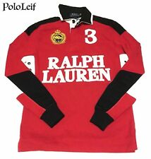 $145 POLO RALPH LAUREN MENS RUGBY SWEATSHIRT RED BLACK EXTRA SMALL