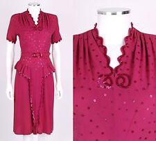 VTG 1940s FUCHSIA MAGENTA RAYON CREPE SEQUIN PEPLUM COCKTAIL DRESS SZ S