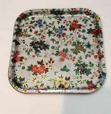"Square Daher Floral Tin Tray Made in England  13"" x 13"" Decorated Ware 11101 NY"