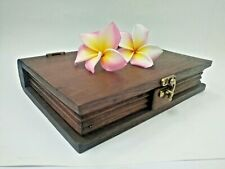 Antique Wooden Box Book Shaped Teak Wood Handmade Trinket Storage Collectible