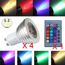 4pcs 3W GU10 RGB LED Light Bulb Lamp 85-265V+IR Remote Control,16 Color Changing