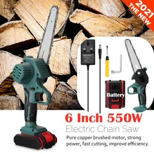 """6"""" Cordless Electric Chainsaw Wood Mini Cutter 550W One-Hand Saw Woodworking"""