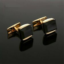 MEN'S GOLD PLATED CUFFLINKS BLACK AGATE DWSIGN MENS WEDDING CUFF LINKS