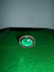 Hat Pin, Vintage  Art Deco, Oval green Glass Rhinestone  1930s
