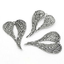"1 Large Silver ANGEL WINGS Charms 69mm x 47mm (2 3/4"" tall) chs0851"