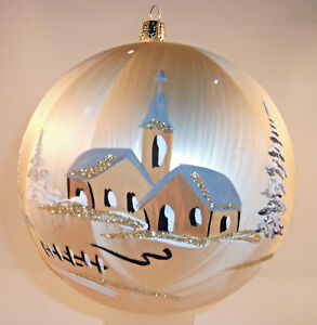 Landschaftskugel Winter Weihnacht 10cm champ/ice  mundeblasen Glas Lauscha