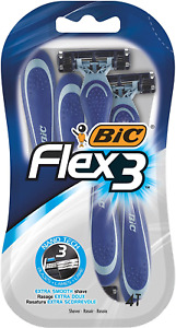BIC Flex 3 Men's Razors, Pack of 4 - with Three Movable Blade Razors for a Close
