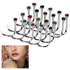 20X Nose Stud Ring Hook Twist Bar Rhinestone Surgical Piercing Jewellery