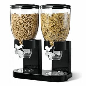 1L pl/ástico transparente Baffect Dispensador de cereal doble montado en la pared Dispensador de contenedores de almacenamiento de alimentos secos herm/ético mantiene los alimentos frescos