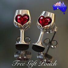 Red Crystal Love Heart Silver Wine Glass Stud Earrings Women's Jewellery Gift