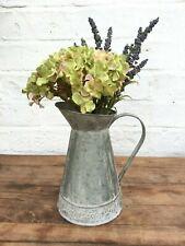 Rustic Zinc Embossed Jug French Vintage Shabby Chic Metal Pitcher Flower Vase