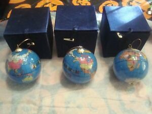Vintage MARY BETH Beanie Baby World Global Christmas Tree Ornaments Lot of 3