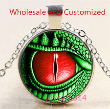 Vintage Dragon eye Cabochon Tibetan silver Glass Chain Pendant Necklace #3482