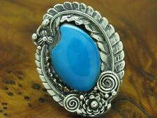 925 Sterling Silver Ring with Turquoise Decorations/Real Silver/Rg 59/21,4g