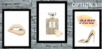 Set of 3 Wall Art beige Gold A4 home Room Bedroom Poster Prints Fashion