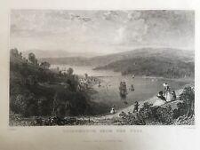 1832 Antiguo impresión; Teignmouth desde el Ness, Devon después de Thomas Allom