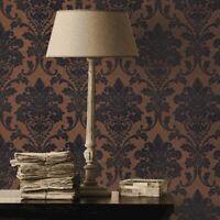 Wallpaper Blue Copper Metallic Textured Flocking velvet Velour Damask flock roll