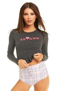 """Wildfox couture women's""""Te Amo """"pink heart long sleeve gray shirt size XS,S NEW"""
