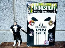 1990 Marvel Comics The Punisher War Journal Collector's Pin Set + Action Figure