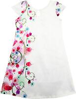 Robe Fille Blanc Satin Fleur Imprimer Casquette Manche Partie Plage Robe d'été