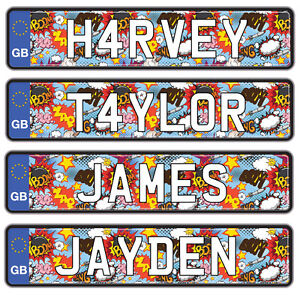 Kids Personalised Number Plate with Name for Ride On Car/Jeep - 2 Pack