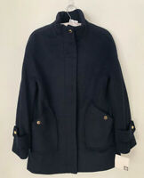 Anne Klein Women's Pea Coat Blended Wool Jacket Navy Size Small New Lined Button