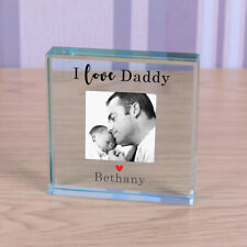 Love Daddy - Personalised Photo Glass Block Ornament Gift 8cm