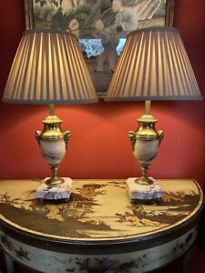Pair Of Antique Pink Marble And Gilt Bronze Urn Table Lamps