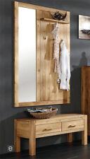 Garderobenset Wildeiche massiv Garderobe 2tlg Kommode + Spiegelpaneel