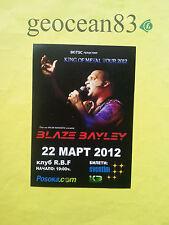 BLAZE BAYLEY / GIG FLYER / SOFIA BULGARIA 2012 / IRON MAIDEN