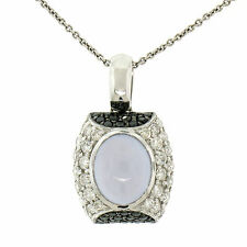 "14K White Gold 4.31ct Oval Chalcedony white & Black Diamond 16"" Pendant Necklace"
