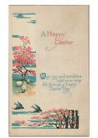 Easter Antique Postcard Cherry Blossom Trees Sheep Birds Arts & Crafts Style