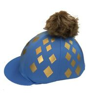GGGear Cross Country Colours Hat Silk,Cornflower Blue/Gold with Faux Fur Pom pom