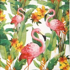 4x Tovaglioli di carta per Decoupage Decopatch Craft FLAMINGO WHITE