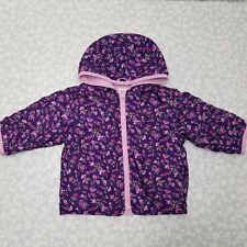 Gymboree Reversible Purple Floral Fleece Nylon Jacket Size 12-18m