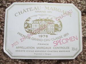 WINE LABEL/vin etiquette - CHATEAU MARGAUX 1976 - RARE