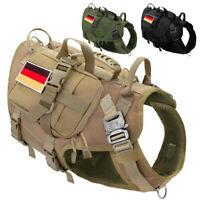 Taktische Hundeweste Militär Molle K9 Weste +3x Taschen 2x Flagge Aufkleber M L