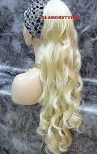 Long Layered Wavy Bleach Blonde Ponytail Hair Piece Extension Drawstring #613